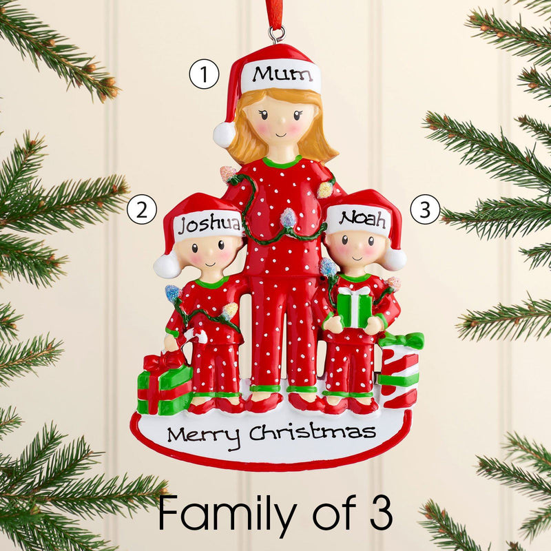 Christmas Ornament - Personalised Family Christmas Xmas Tree Decoration Ornament - Single Parent Mum