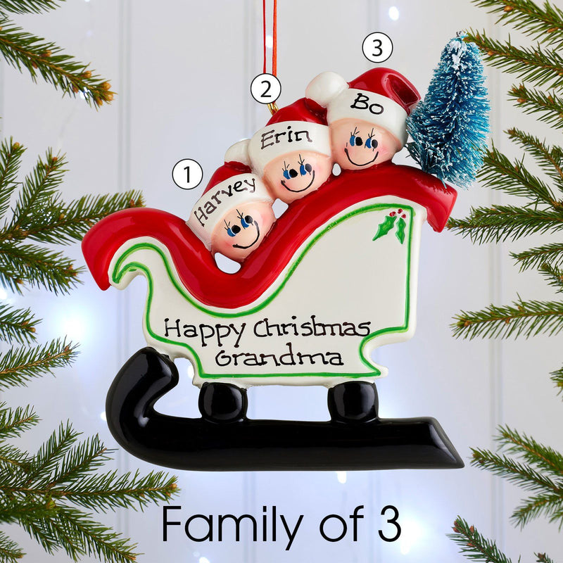 Christmas Ornament - Personalised Family Christmas Xmas Tree Decoration Ornament - Sleigh Family