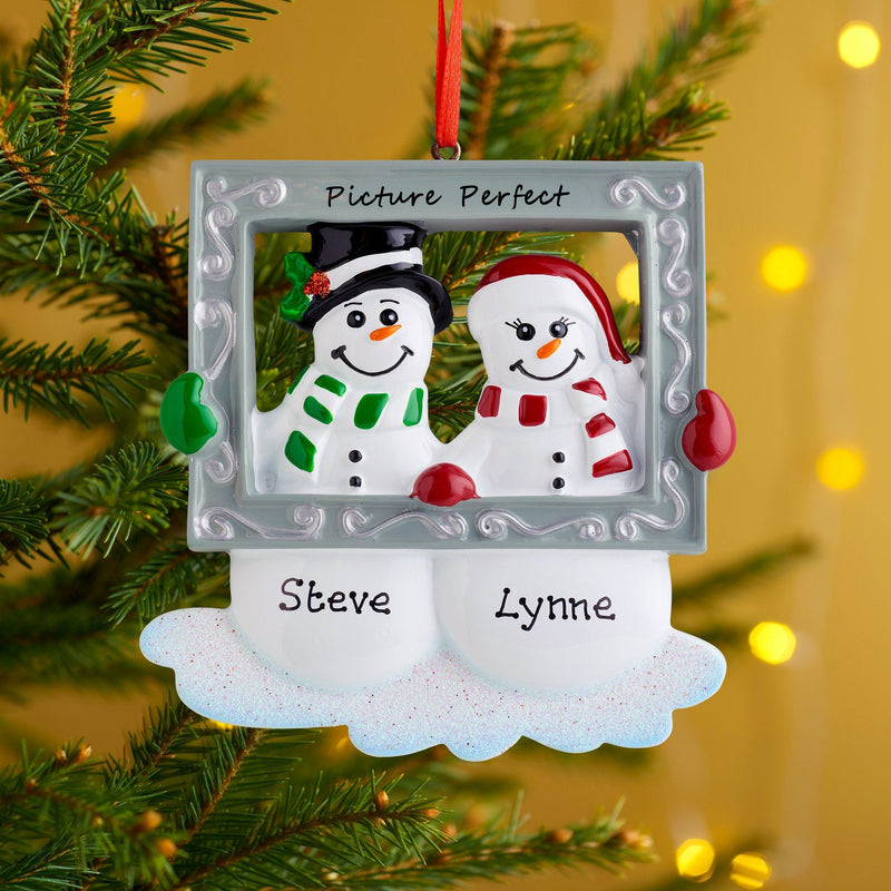 Christmas Ornament - Personalised Family Christmas Xmas Tree Decoration Ornament - Snow Couple With Frame