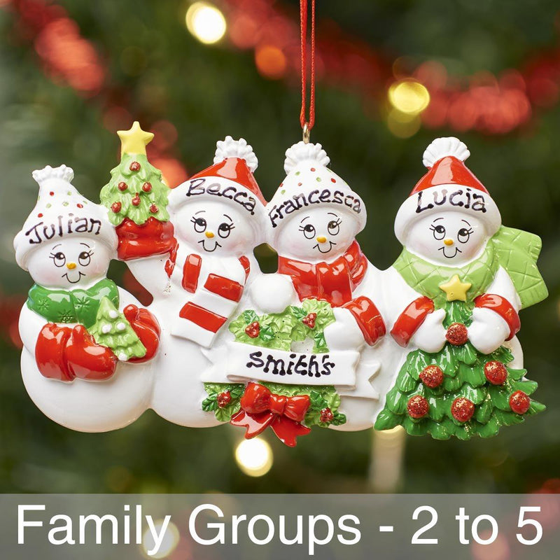 Christmas Ornament - Personalised Family Christmas Xmas Tree Decoration Ornament - Snowman Family