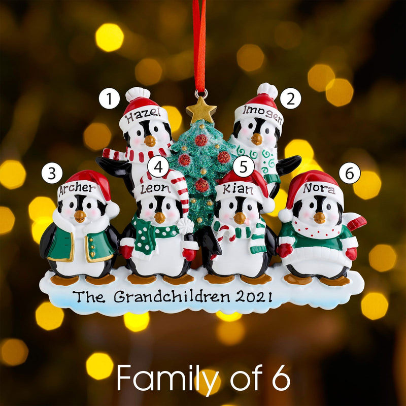 Christmas Ornament - Personalised Family Christmas Xmas Tree Decoration Ornament - Winter Penguin Family