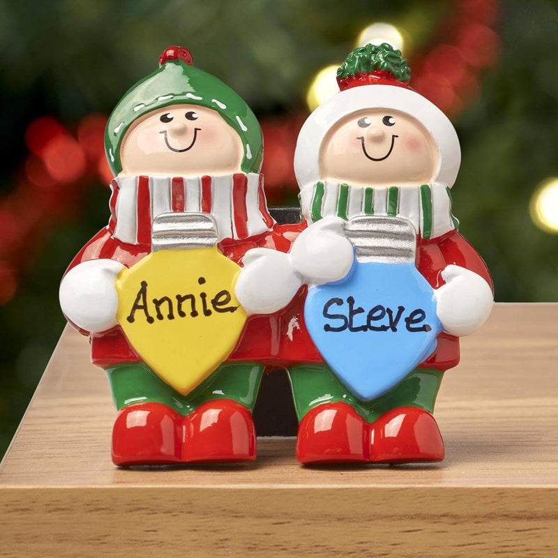 Christmas Table Top - Personalised Family Christmas Xmas Table Top Decoration - Christmas Lights Family