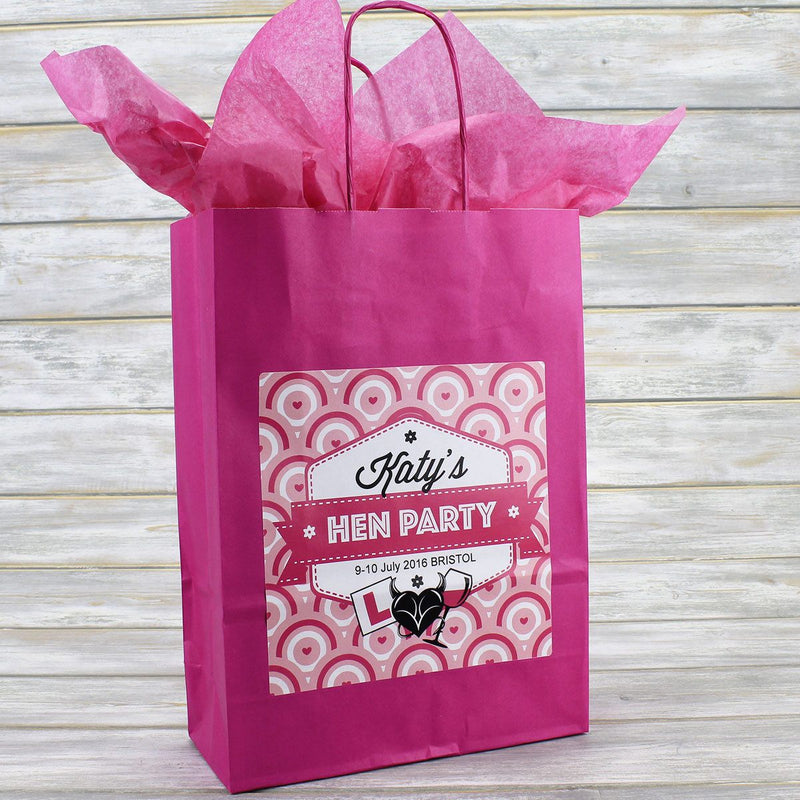 Hen Party Bag - Personalised Hen Party Bag Gift Favour (Empty) - Circle Design
