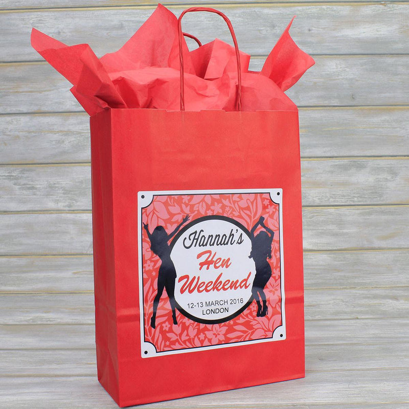 Hen Party Bag - Personalised Hen Party Bag Gift Favour (Empty) - Dancing Girl Design