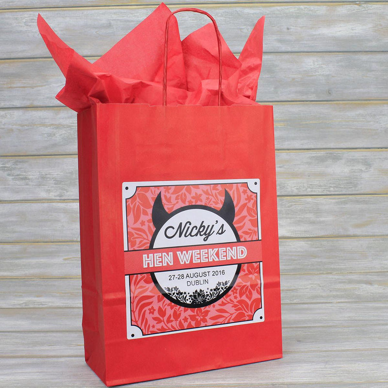 Hen Party Bag - Personalised Hen Party Bag Gift Favour (Empty) - Horny Devil Design
