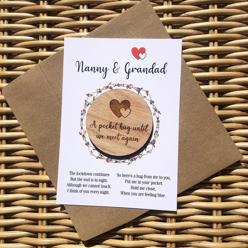 Hug - Personalised Wooden Hug Token - Floral Garland