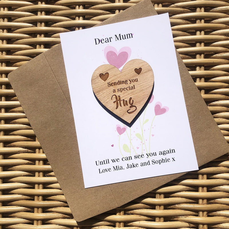 Hug - Personalised Wooden Hug Token - Heart Flowers