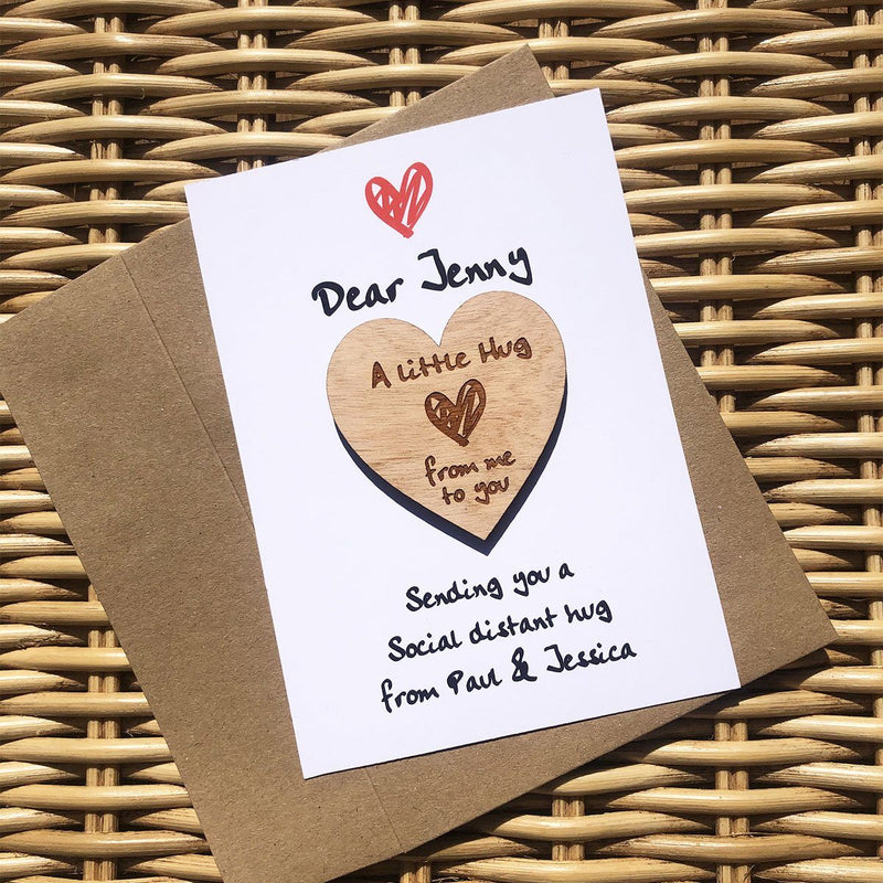 Hug - Personalised Wooden Hug Token - Scribble Heart
