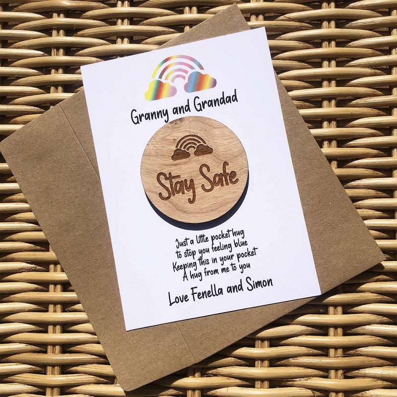 Hug - Personalised Wooden Hug Token - Stay Safe Rainbow