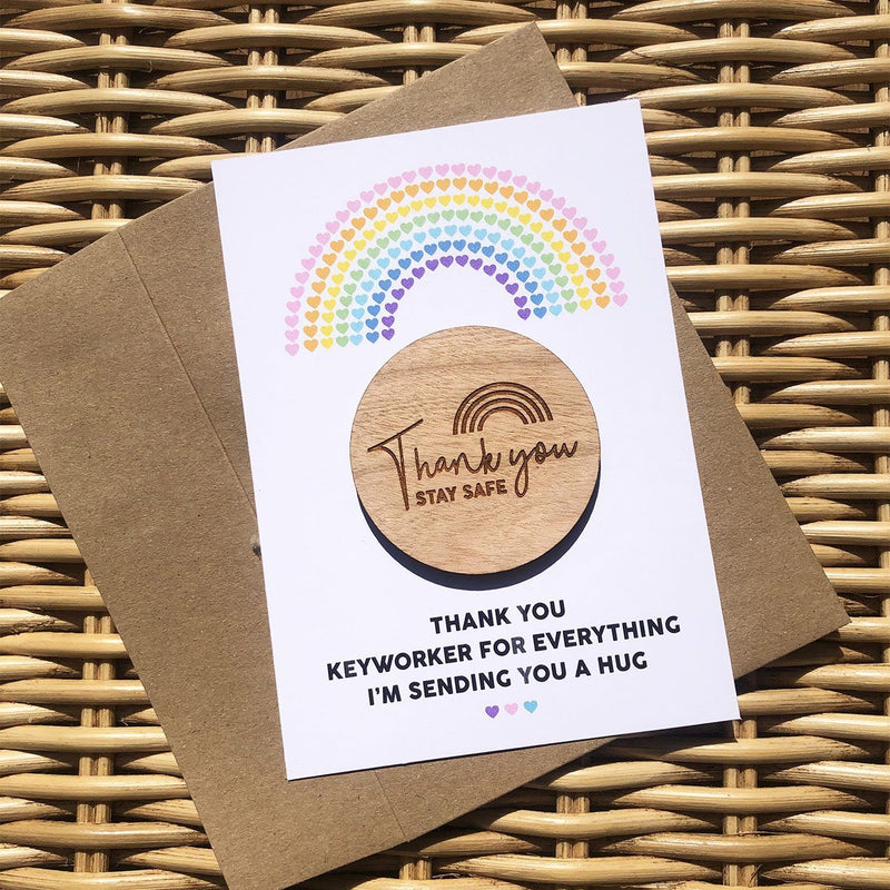 Hug - Wooden Hug Token - Thank You Rainbow