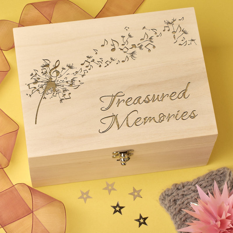 Keepsake Box - Laser Engraved Wooden Memory Keepsake Box - Dandelion
