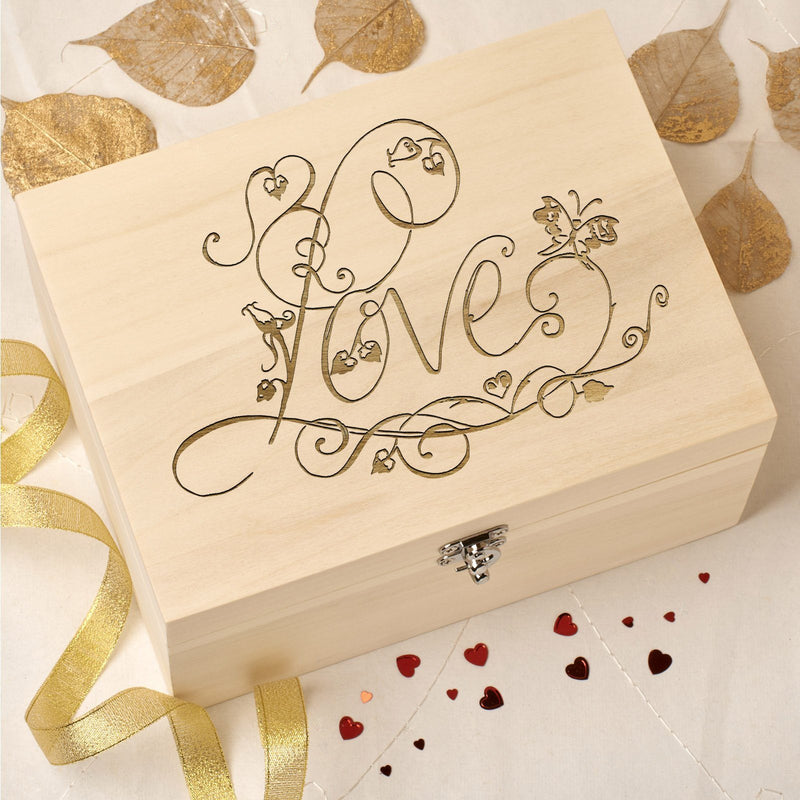 Keepsake Box - Laser Engraved Wooden Memory Keepsake Box With Hinged Lid - Love