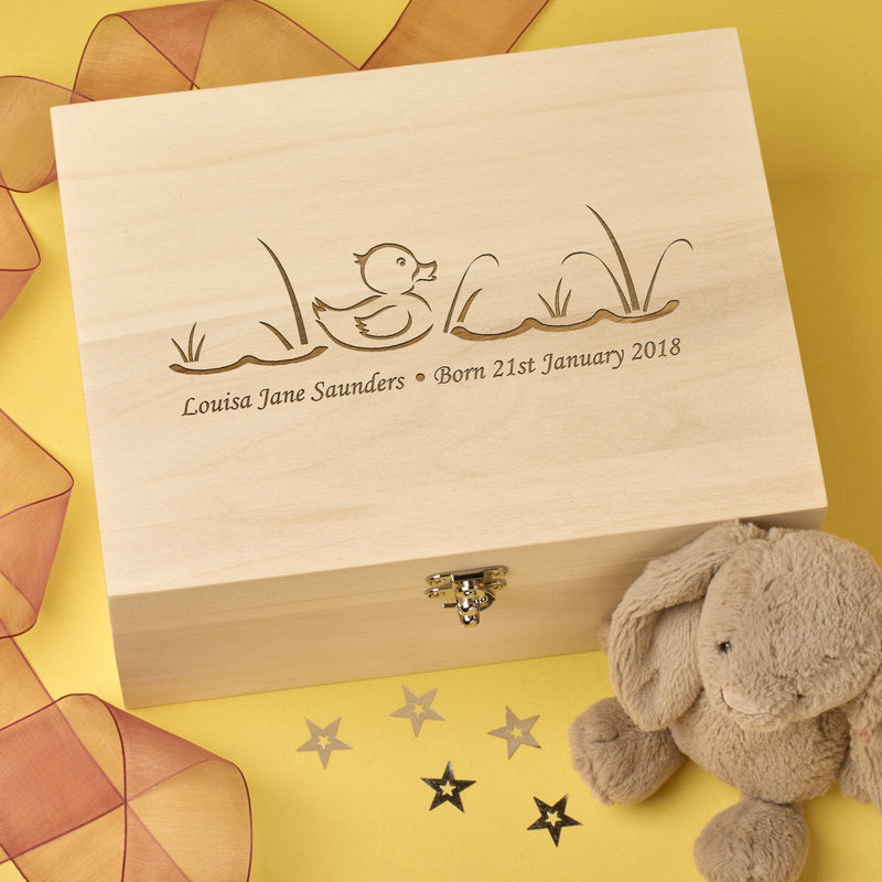Keepsake Box - Personalised Wooden Baby Memory Keepsake Box - Baby Duck