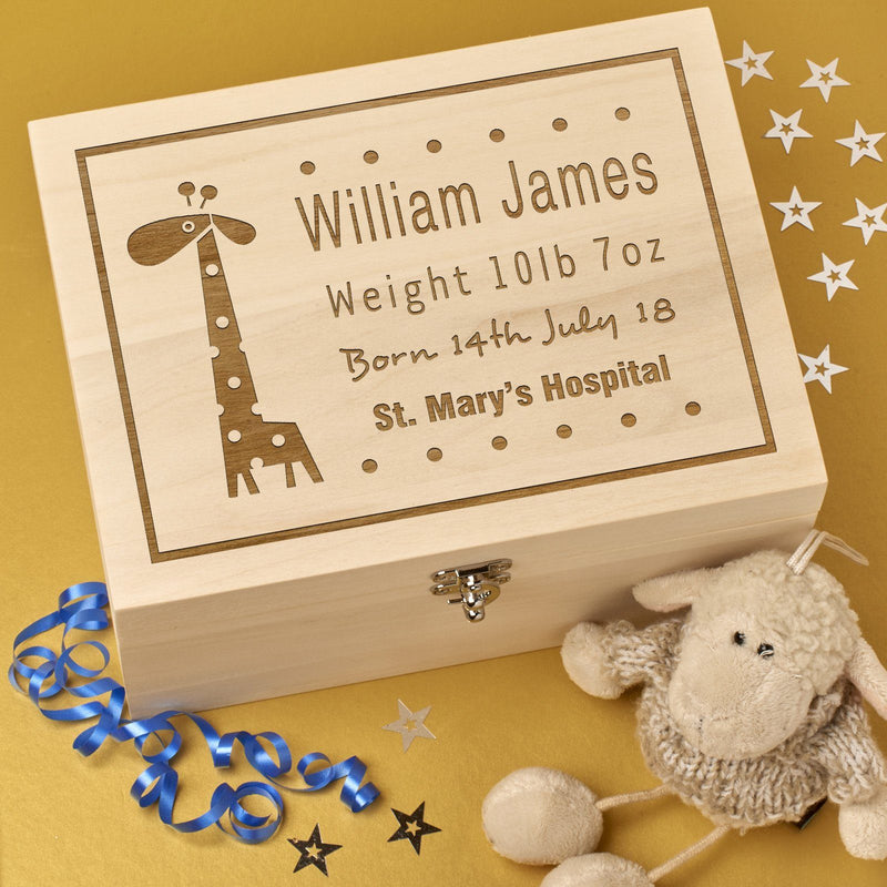 Keepsake Box - Personalised Wooden Baby Memory Keepsake Box - Baby Giraffe