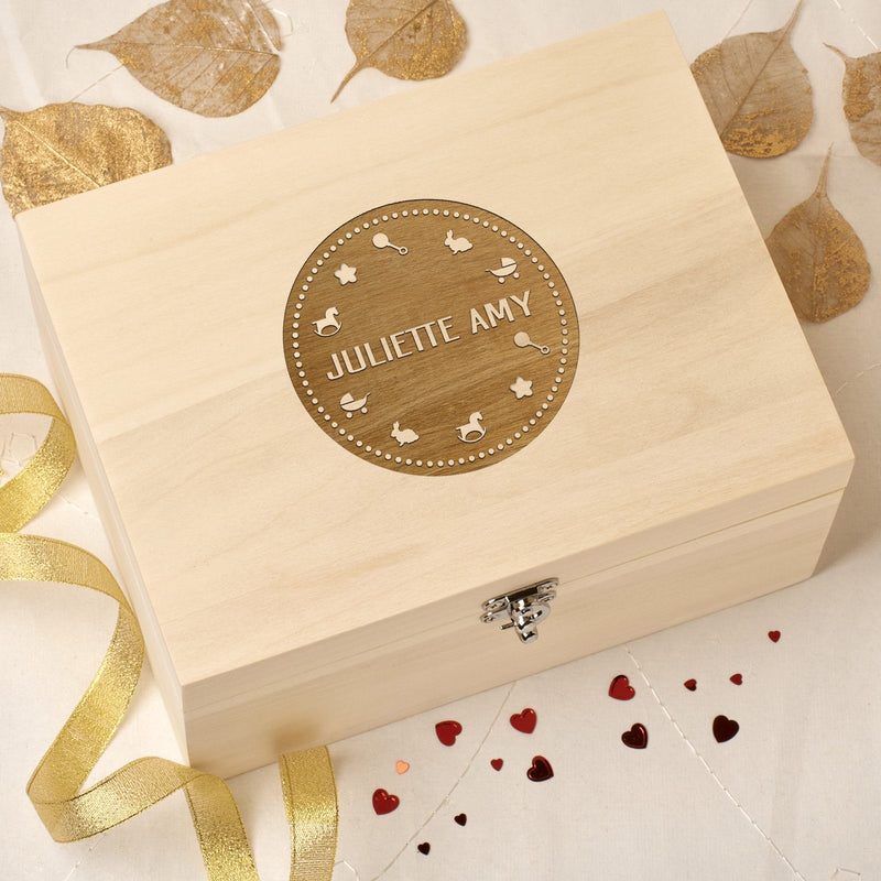 Keepsake Box - Personalised Wooden Baby Memory Keepsake Box - Baby Icons