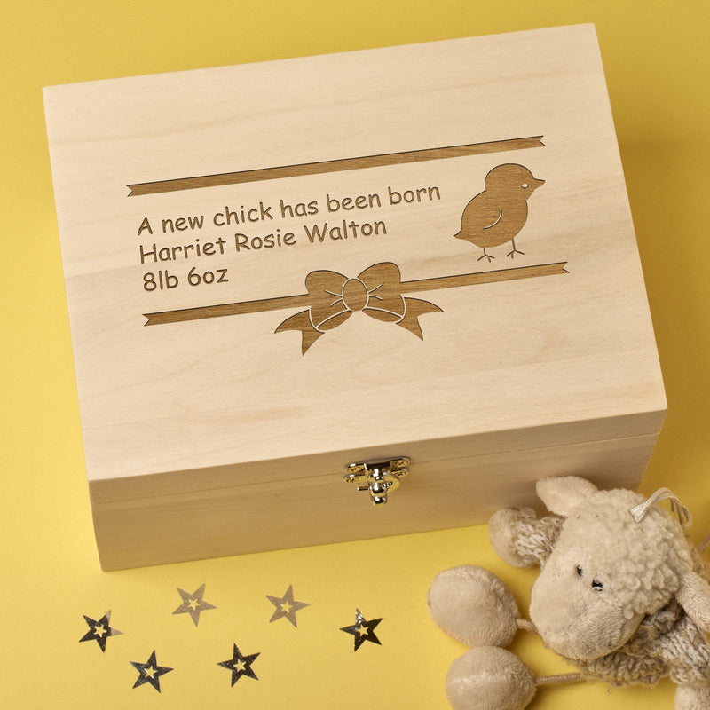 Keepsake Box - Personalised Wooden Baby Memory Keepsake Box  - New Chick