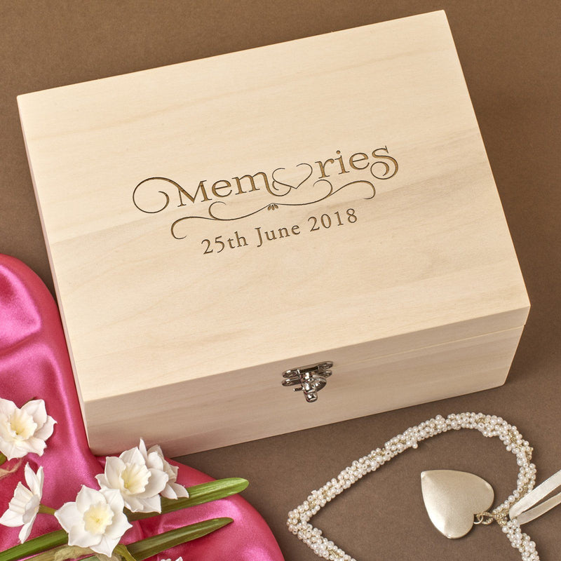 Keepsake Box - Personalised  Wooden Memory Keepsake Box - Wedding Memories