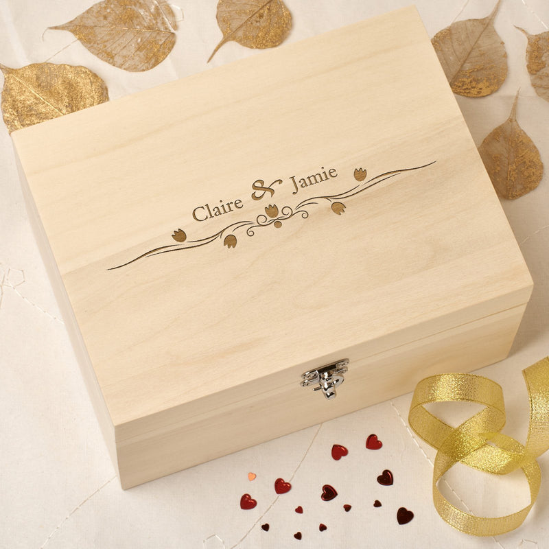 Keepsake Box - Personalised Wooden Wedding Memory Keepsake Box - Tulips