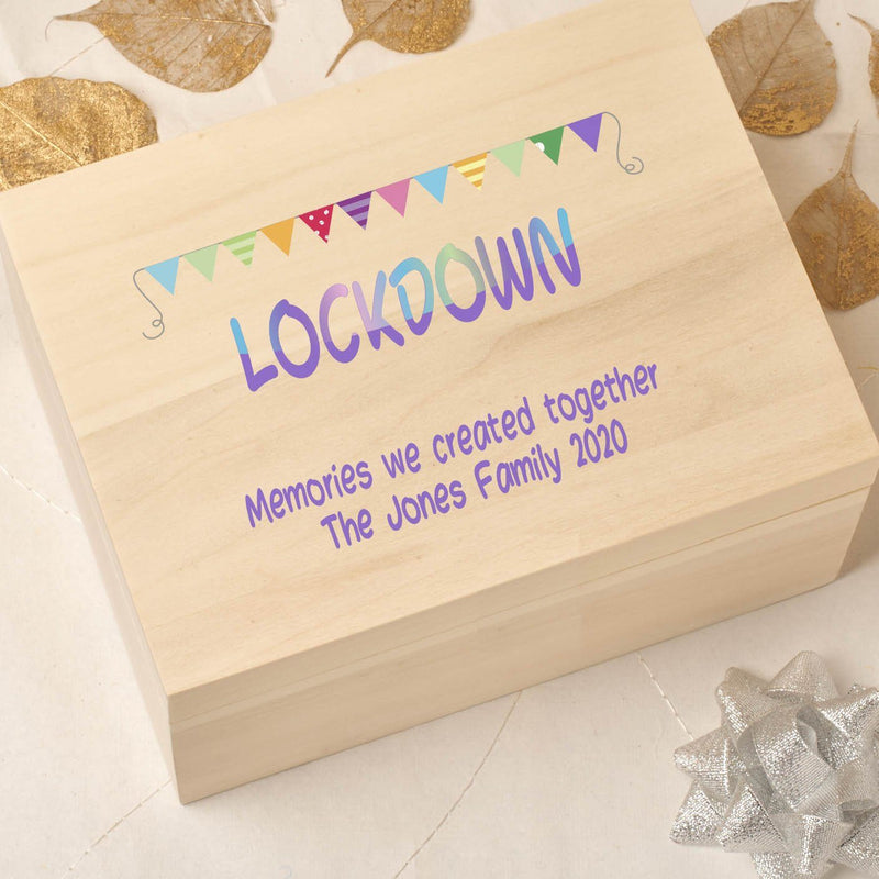 Keepsake Box - Wooden Lockdown Keepsake Time Capsule Box - Bunting Design