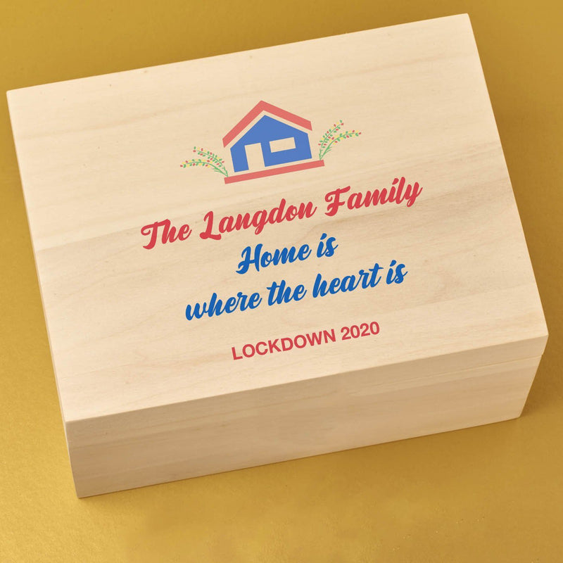 Keepsake Box - Wooden Lockdown Keepsake Time Capsule Box - House Design