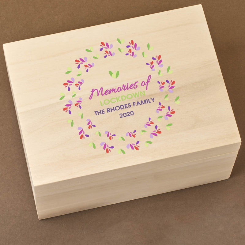 Keepsake Box - Wooden Lockdown Keepsake Time Capsule Box - Wreath Design