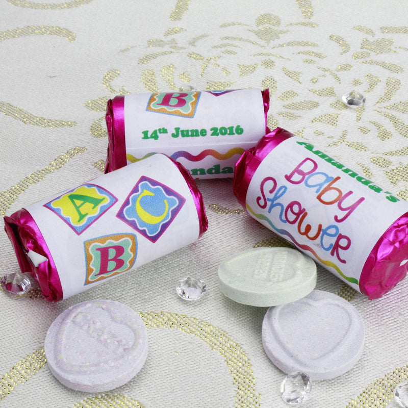 Love Hearts - Personalised Mini Love Hearts Rolls Sweets Favour - Baby Shower - Blocks