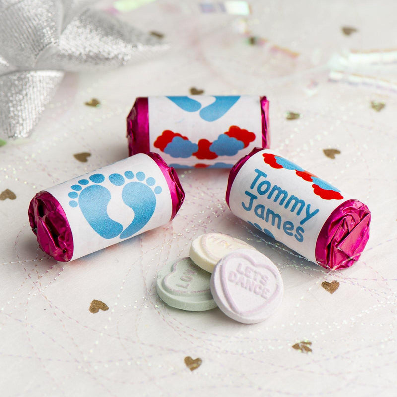 Love Hearts - Personalised Mini Love Hearts Rolls Sweets Favour - Baby Shower/Christening/Birthday - Feet - Blue