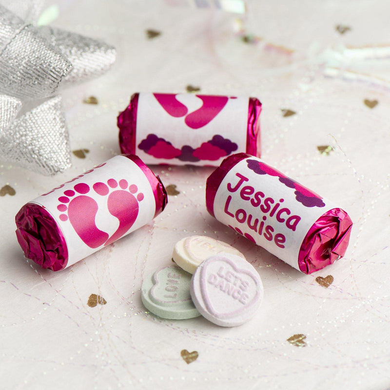Love Hearts - Personalised Mini Love Hearts Rolls Sweets Favour - Baby Shower/Christening/Birthday - Feet - Pink