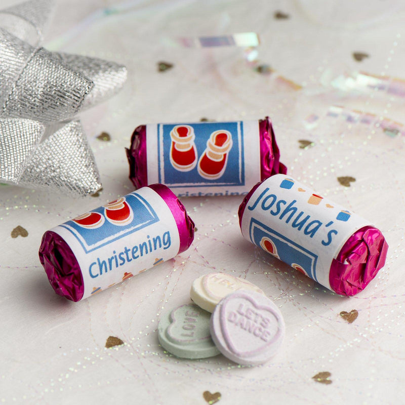 Love Hearts - Personalised Mini Love Hearts Rolls Sweets Favour - Baby Shower/Christening/Birthday - Shoes - Blue