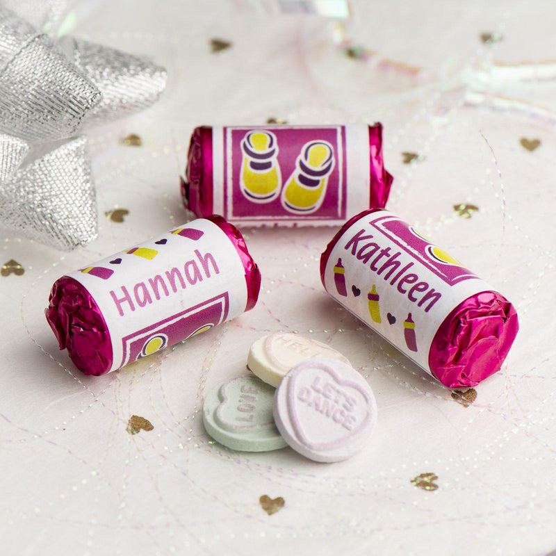 Love Hearts - Personalised Mini Love Hearts Rolls Sweets Favour -Baby Shower/Christening/Birthday - Shoes - Pink