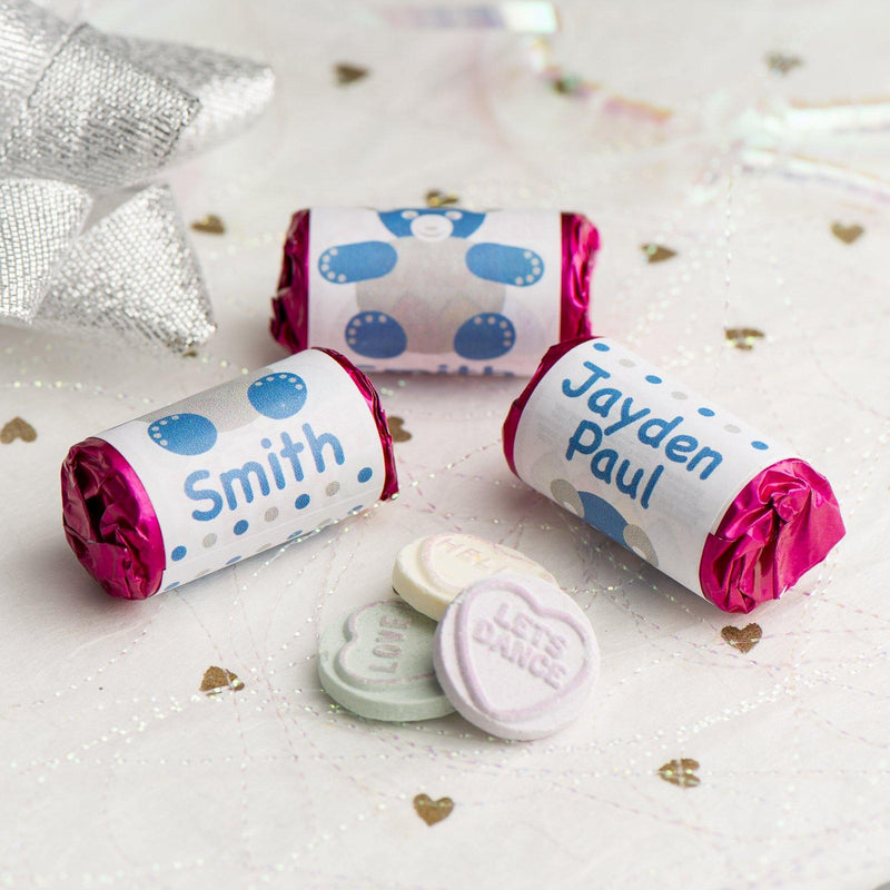 Love Hearts - Personalised Mini Love Hearts Rolls Sweets Favour - Baby Shower/Christening/Birthday -Teddy - Blue