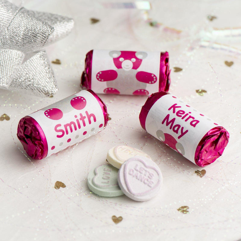 Love Hearts - Personalised Mini Love Hearts Rolls Sweets Favour - Baby Shower/Christening/Birthday - Teddy - Pink