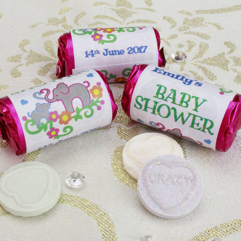 Love Hearts - Personalised Mini Love Hearts Rolls Sweets Favour - Baby Shower - Elephants