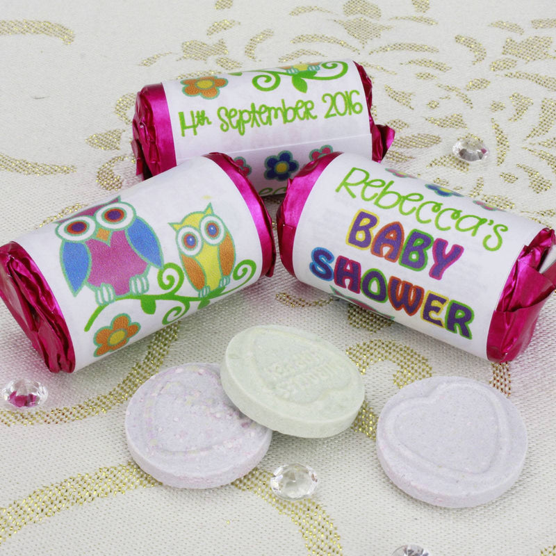 Love Hearts - Personalised Mini Love Hearts Rolls Sweets Favour - Baby Shower - Owls