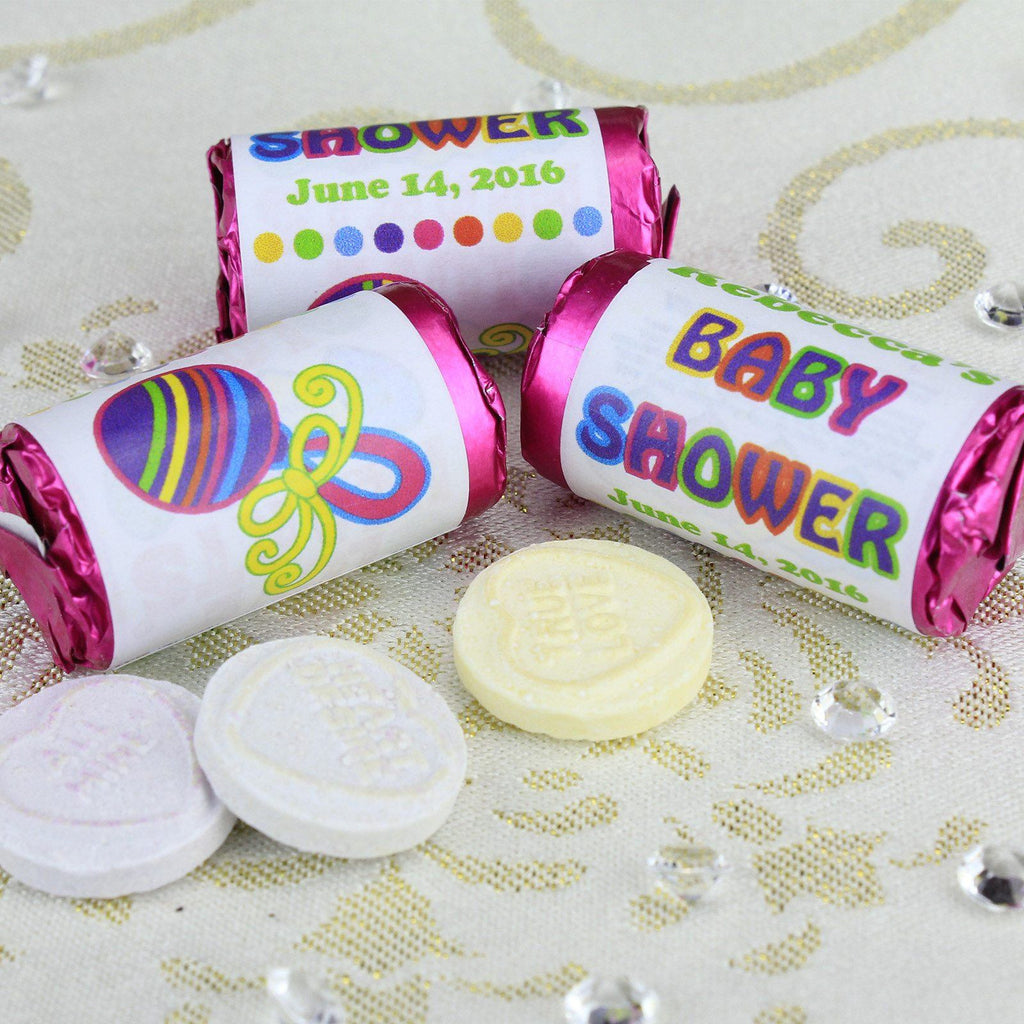 Love Hearts - Personalised Mini Love Hearts Rolls Sweets Favour - Baby Shower - Rattle