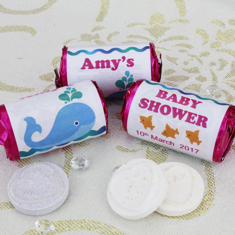 Love Hearts - Personalised Mini Love Hearts Rolls Sweets Favour - Baby Shower - Whale