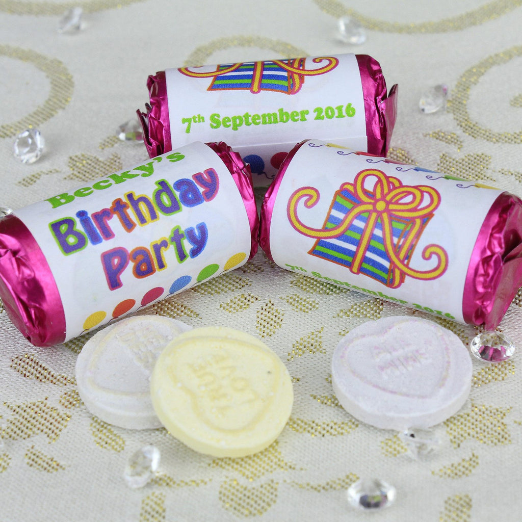 Love Hearts - Personalised Mini Love Hearts Rolls Sweets Favour - Birthday
