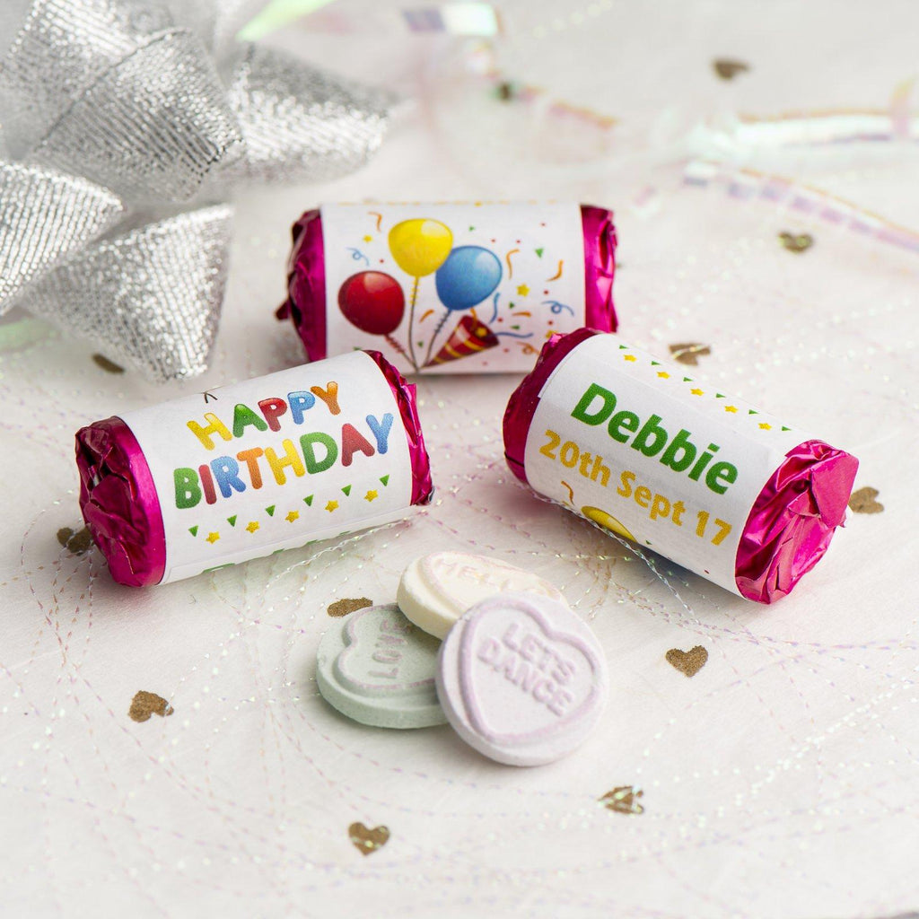 Love Hearts - Personalised Mini Love Hearts Rolls Sweets Favour - Birthday - Balloons