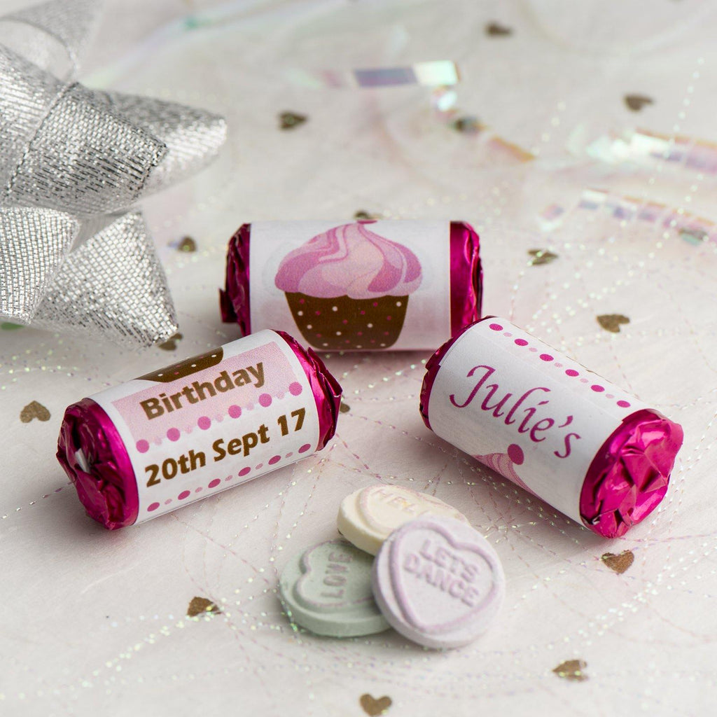 Love Hearts - Personalised Mini Love Hearts Rolls Sweets Favour - Birthday - Cupcake