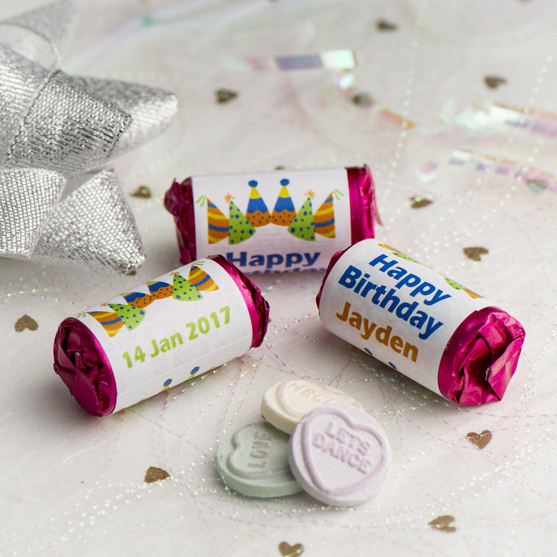 Love Hearts - Personalised Mini Love Hearts Rolls Sweets Favour - Birthday - Hats