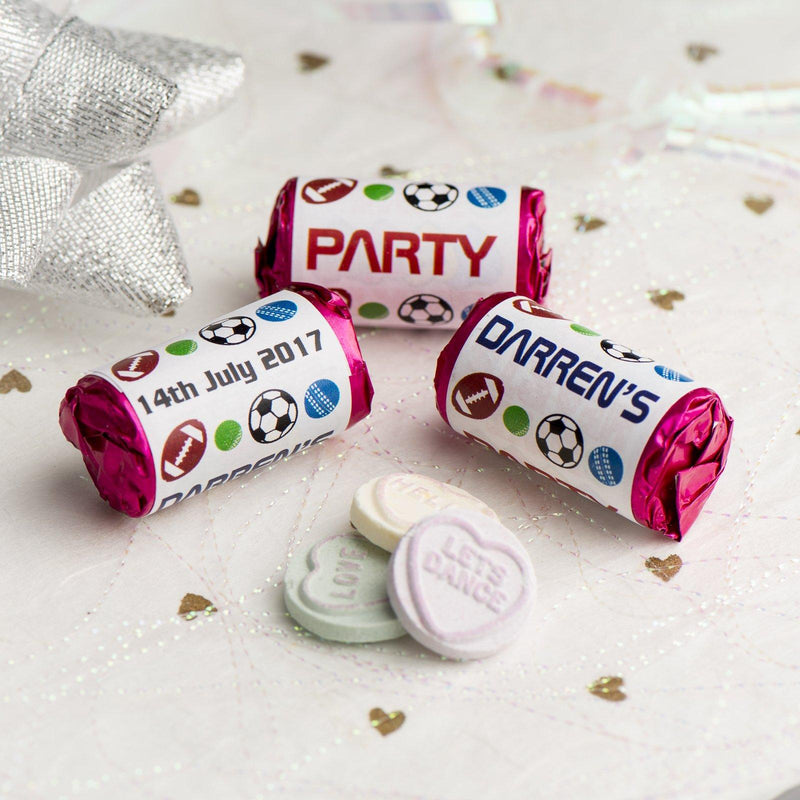 Love Hearts - Personalised Mini Love Hearts Rolls Sweets Favour - Birthday -Sports