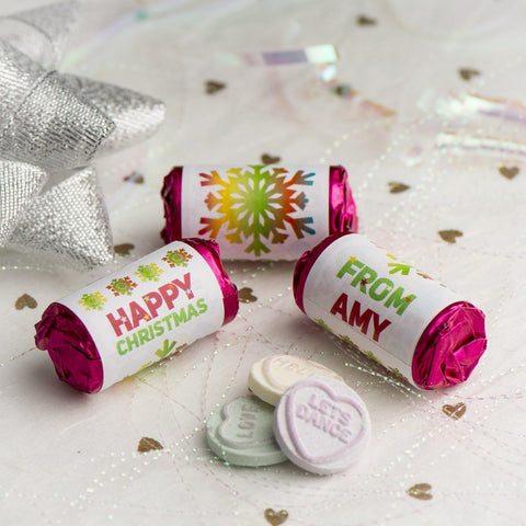 Love Hearts - Personalised Mini Love Hearts Rolls Sweets Favour - Christmas-Snowflakes