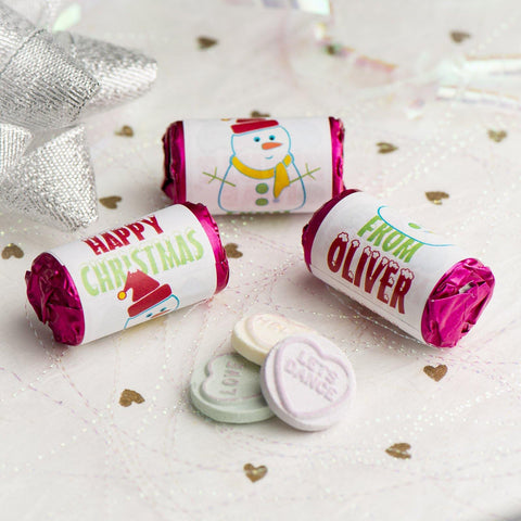 Love Hearts - Personalised Mini Love Hearts Rolls Sweets Favour - Christmas-Snowmen