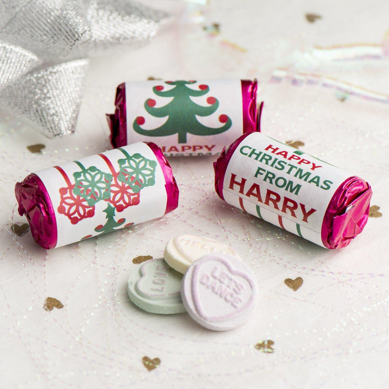 Love Hearts - Personalised Mini Love Hearts Rolls Sweets Favour - Christmas-Tree