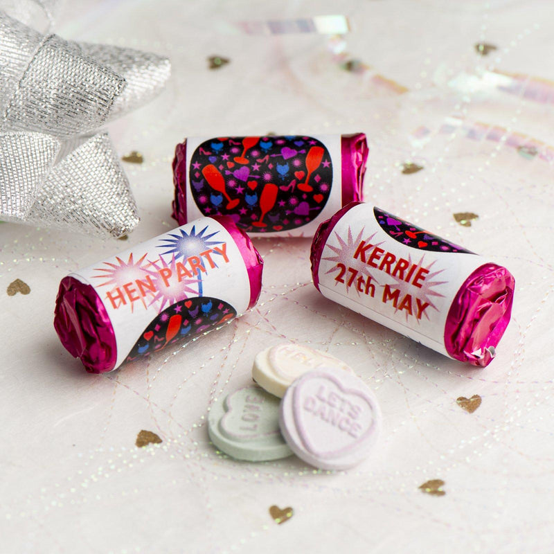Love Hearts - Personalised Mini Love Hearts Rolls Sweets Favour - Hen DiscoBall Glasses