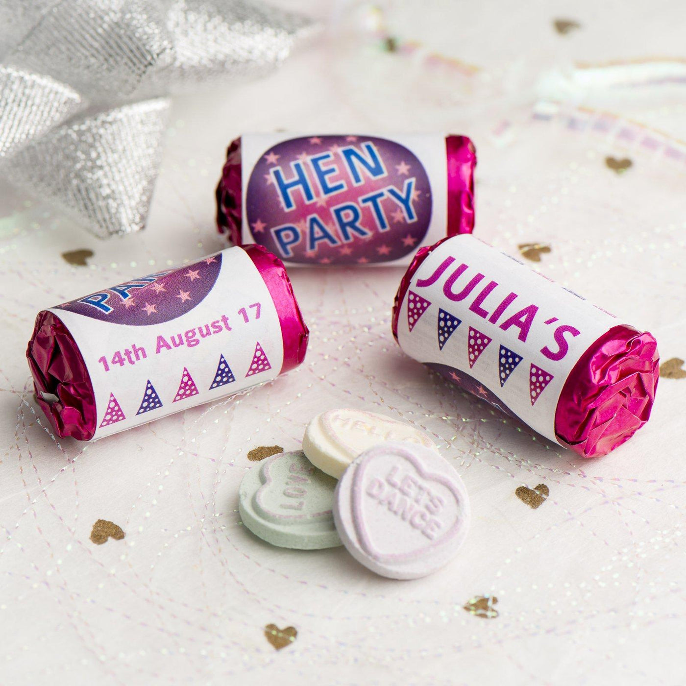 Personalised Mini Love Hearts Rolls Sweets Favour Hen Discoball St