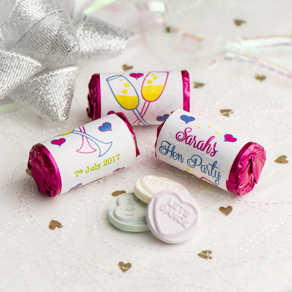 Love Hearts - Personalised Mini Love Hearts Rolls Sweets Favour - Hen Glasses
