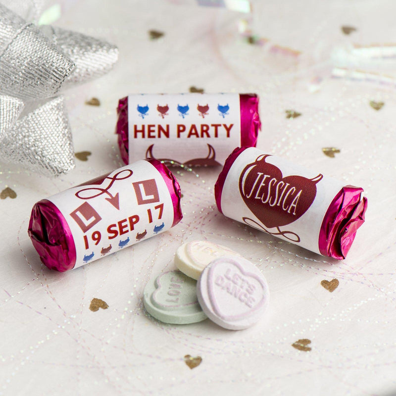 Love Hearts - Personalised Mini Love Hearts Rolls Sweets Favour - Hen Heart & Horns