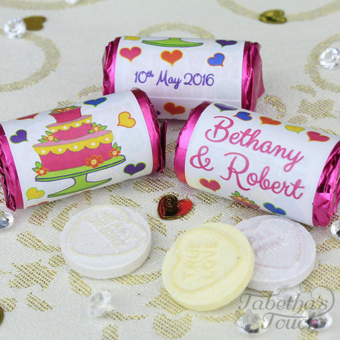 Love Hearts - Personalised Mini Love Hearts Rolls Sweets Favour - Wedding - Cake