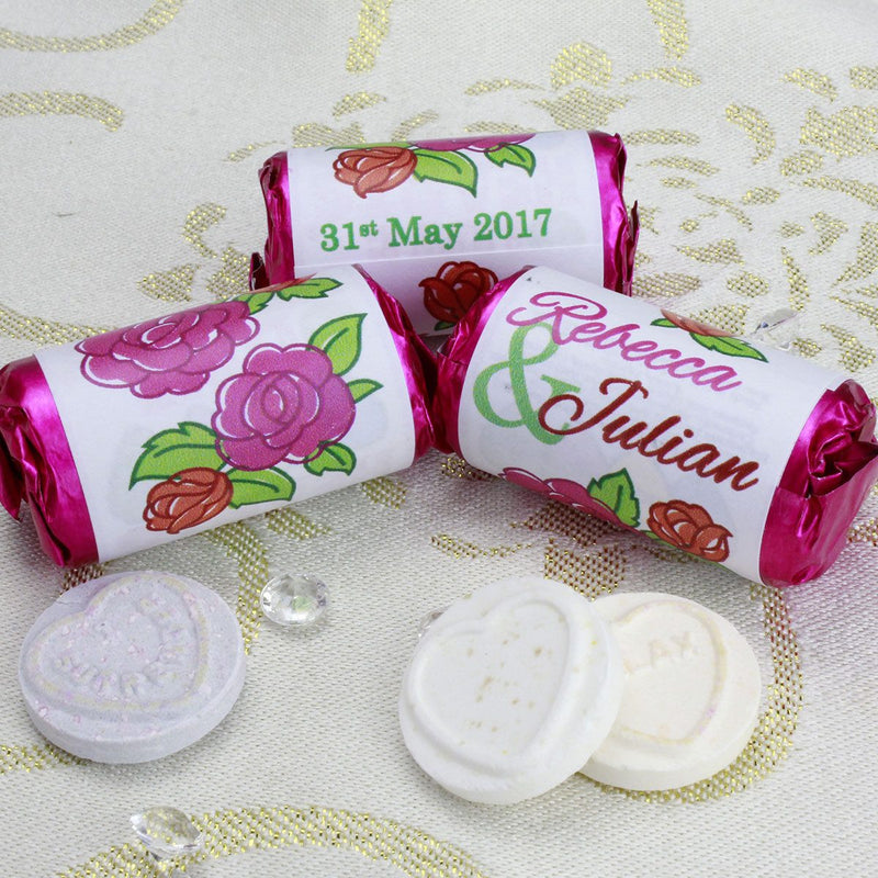 Love Hearts - Personalised Mini Love Hearts Rolls Sweets Favour - Wedding - Flowers